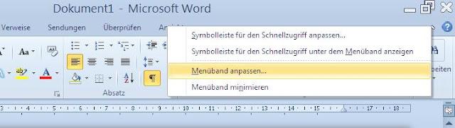 Rechtsklick auf Menü-Namen Word 2010