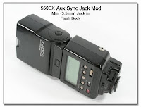 550EX Aux Sync Jack Mod - Mini (3.5mm) Jack into Flash Body