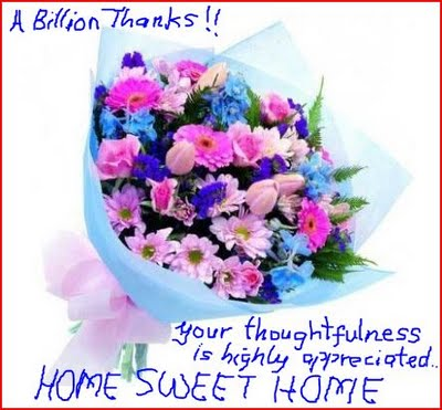 A BILLION THANKS TO MY 3000 FOLLOWERS AND READERS...HOME SWEET HOME