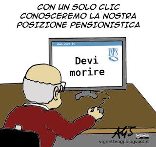 inps, italia digitale, pensioni, satira vignetta