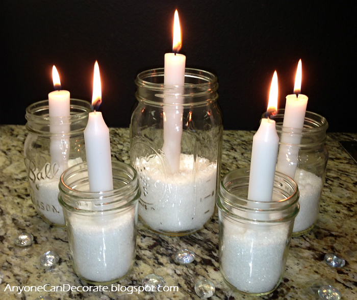 Anyone Can Decorate Simple Mason Jar Candle Holders