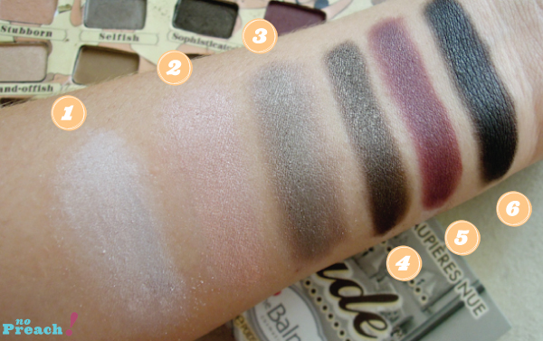 the balm, nudetude palette, colors swatch