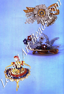 Top, a graceful clip that combines yellow diamonds with round and baguette diamonds in a setting of platinum and gold (1938). Centre, this clip of two birds in a hat was produced in red, white and blue to celebrate the end of the Second World War (1946). The two nesting, swallows are Made of diamonds with ruby eyes, and the flowers are rubies, sapphires and diamonds. The hat is of gold, treated in look like weaving, with a hatband of calibrated rubies. Below, one of Van Cleef & Arpels' many popular dancer clips (1940s). The ballerina has a rose-cut diamond head and her gold skirt has been cut to resemble pleats. Her tutu is decorated with faceted sapphires and rubies.