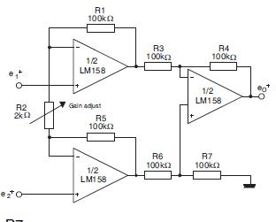 LM358 Amplificador de instrumentación de alta impedancia.