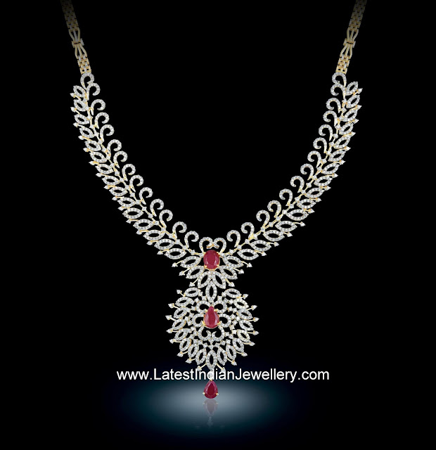 Bhima Jewellery Bands: Sparkling Diamond Necklace Highlighted With Rubies Looks