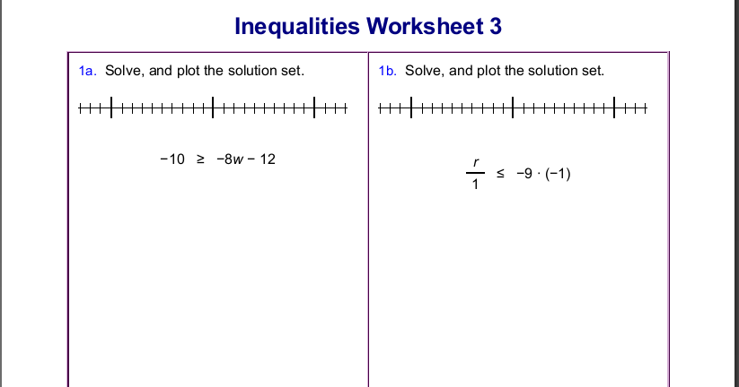 Homeschool Math Blog: Worksheets for inequalities