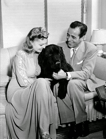Humphrey Bogart & first wife, Mayo Methot with their dog.