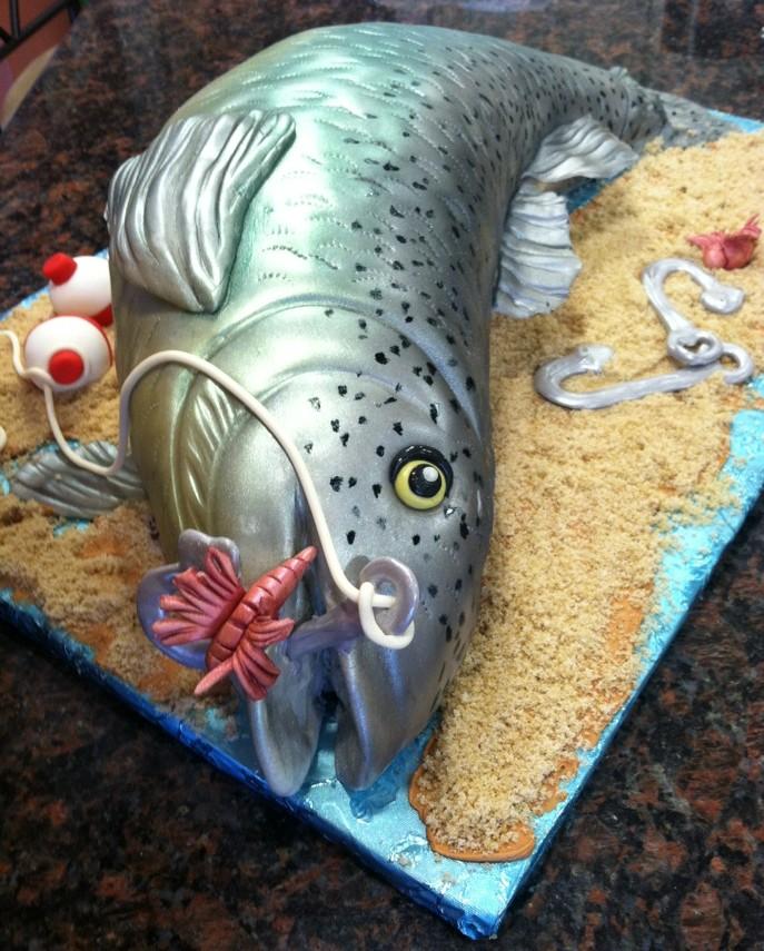 Desserts by dawn adam 39 s 27th birthday fish cake for Fish birthday cakes