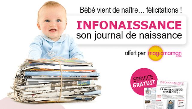 Journal gratuit de naissance de bébé
