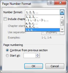 penomoran halaman dengan angka romawi