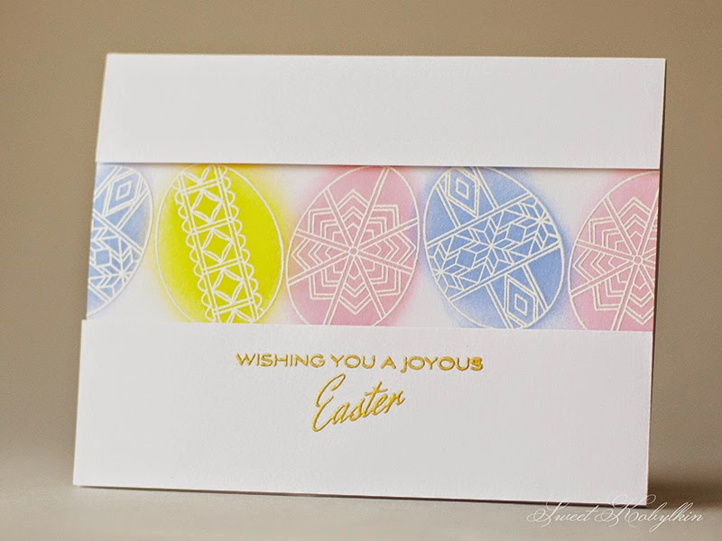 Easter Greeting Card with Papertery Ink Etched Easter Eggs by Sweet Kobylkin
