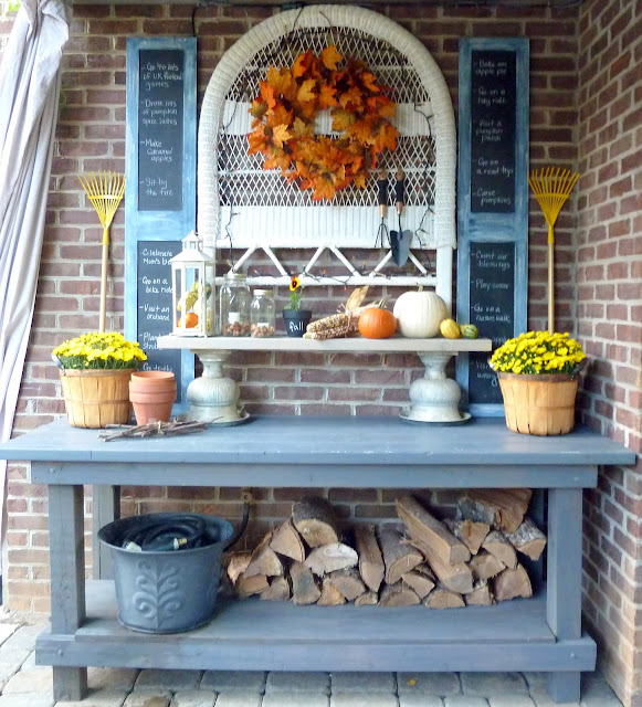 fall decor - potting bench