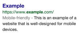 Ejemplo de la etiqueta mobile-friendly aplicada en un resultado de busqueda