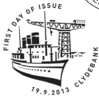 Clydebank postmark showing steamship and shipbuilding crane.