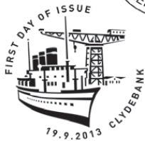 Clydebank postmark showing steamship and shipbuilding crane.