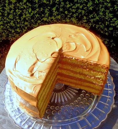 One Perfect Bite: Yellow Layer Cake with Chocolate-Sour Cream Frosting
