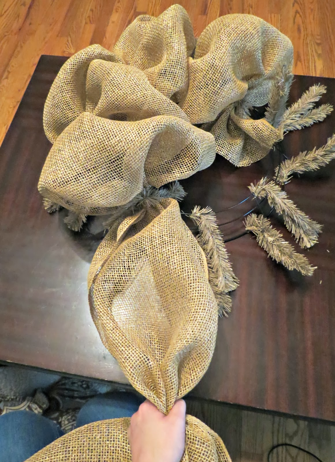 Wreaths how to make the base of the burlap witch wreath baditri Images