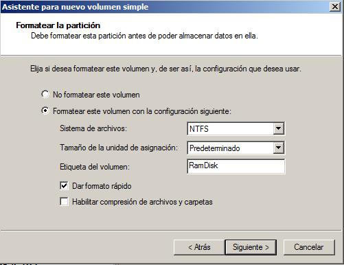 formatear ramdisk windows 2