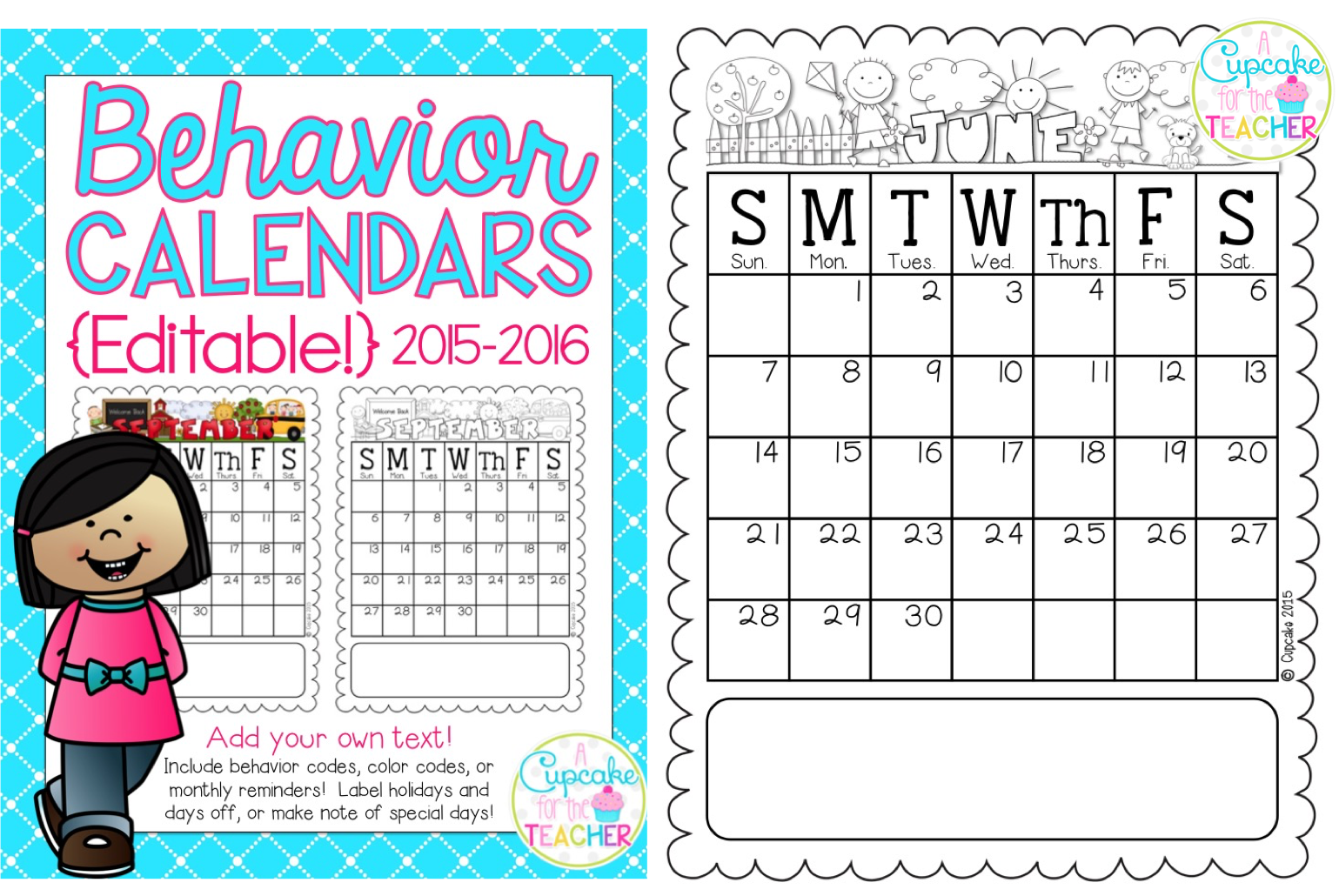 Behavior Calendars 20152016 Makeover Madness A Cupcake for – Sample 2015 Calendar