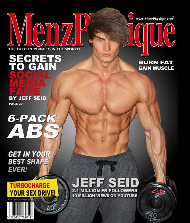 Sem camisa, Jeff Seid exibe o físico sarado na capa da Menz Physique. Foto: Jason Ellis