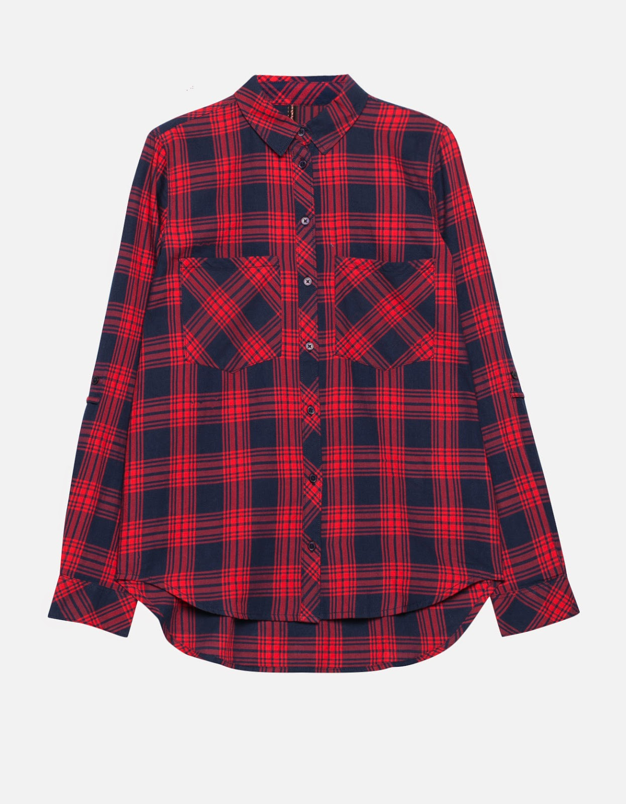 camisa cuadros roja stradivarius