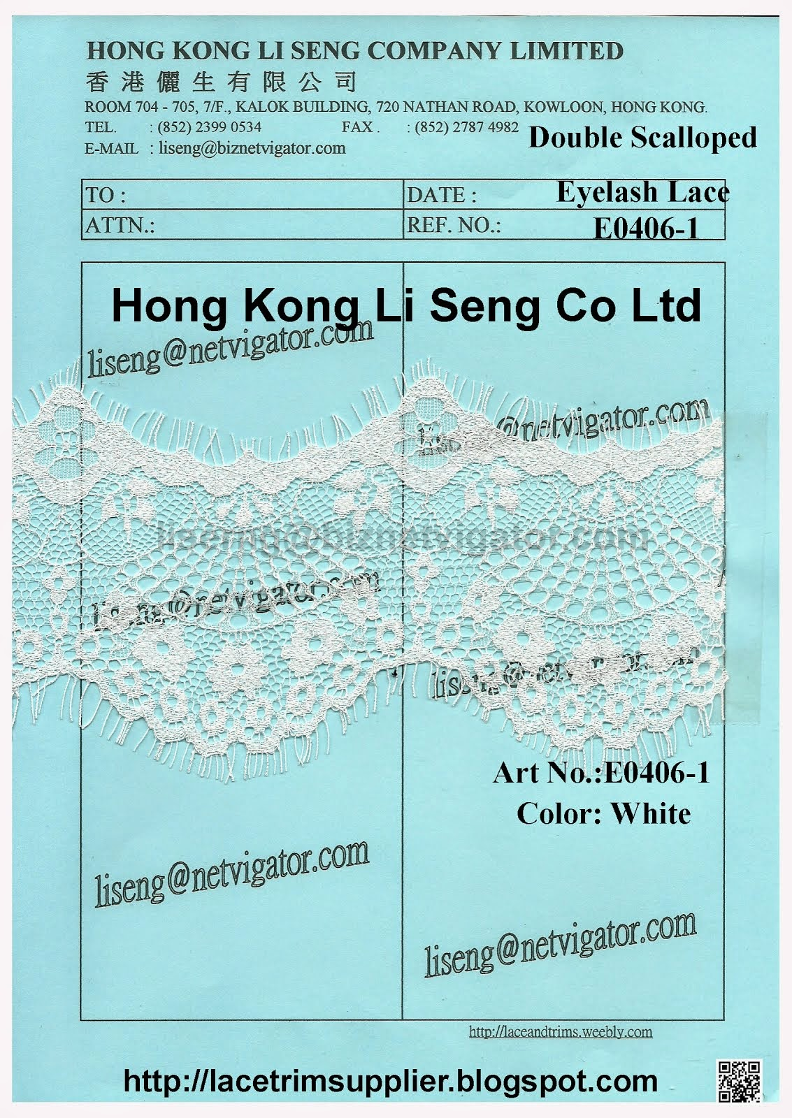 Double Scalloped Eyelash Lace Manufacturer - Hong Kong Li Seng Co Ltd