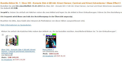 Sparaktion bei Amazon: Mass Effect 3 wahlweise im Kinect Bundle mit oder ohne Konsole