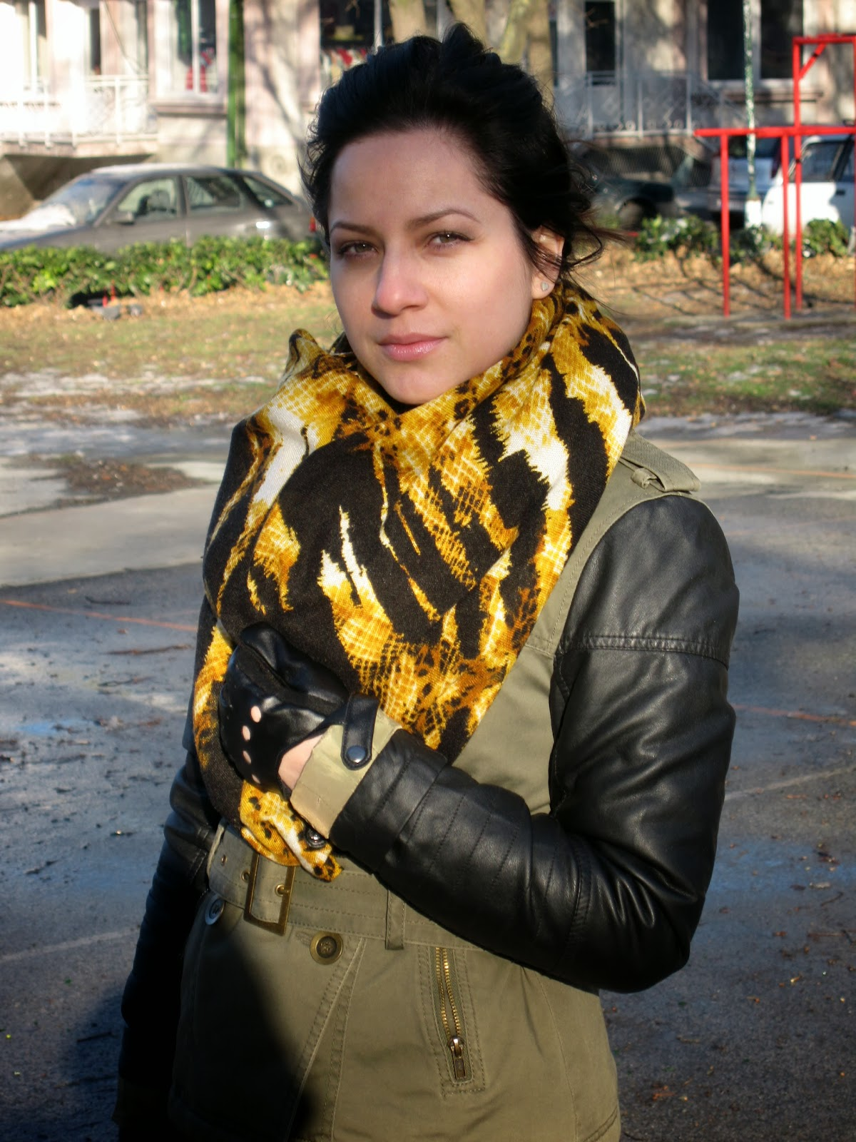 military jacket, tiger print scarf
