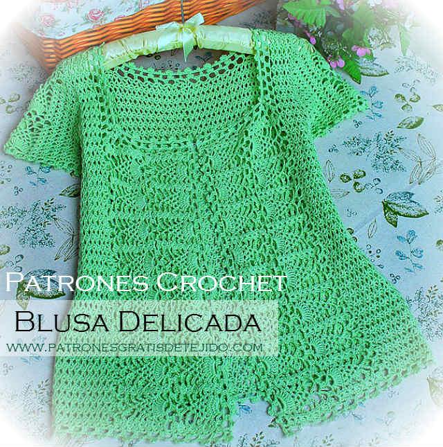 Blusa elegante y delicada para tejer al crochet con patrones