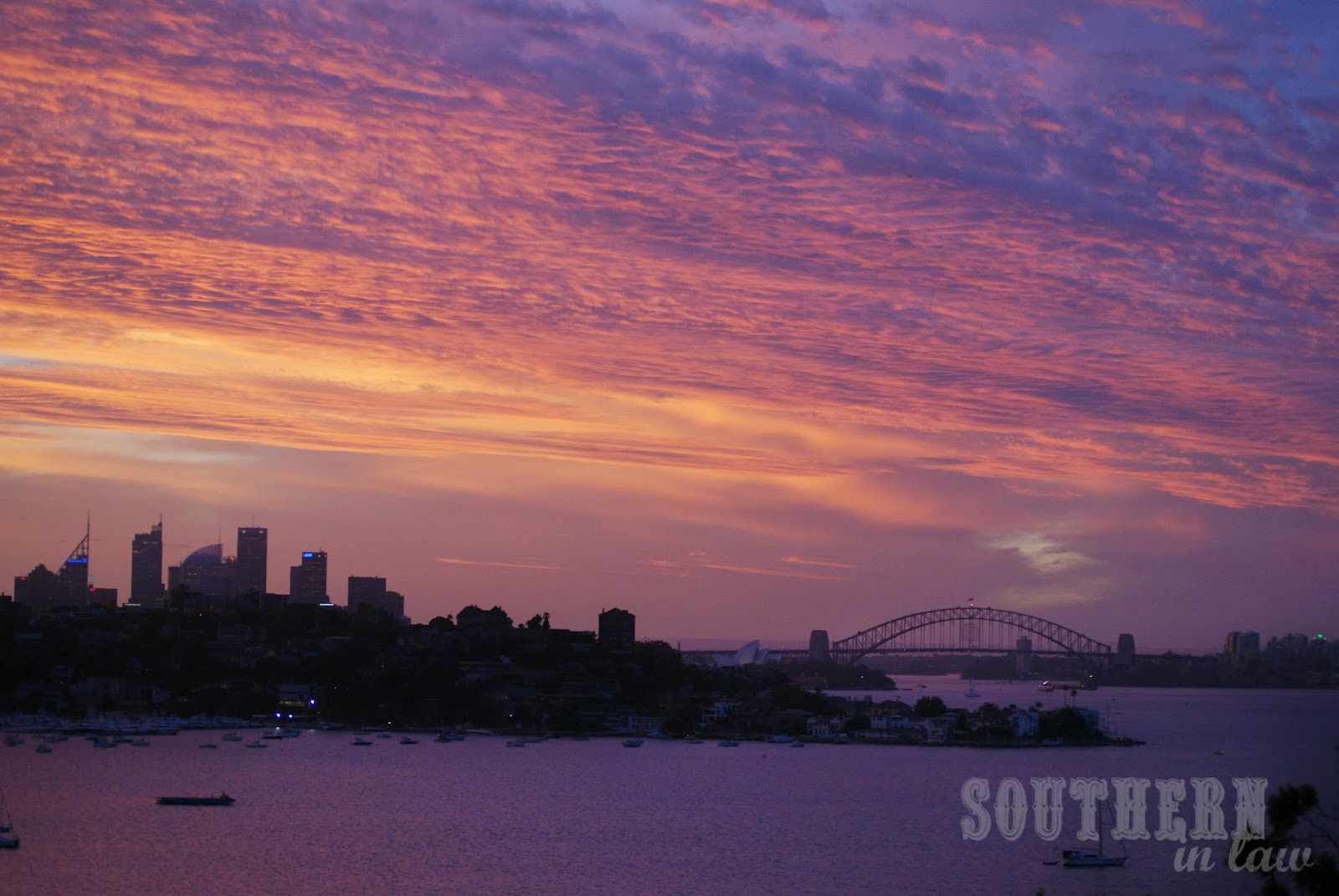 Pink and Purple Sunset over Sydney Harbour Australia