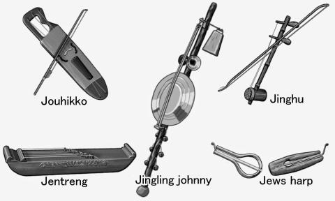 J ... world musical instruments.monochrome illustration.