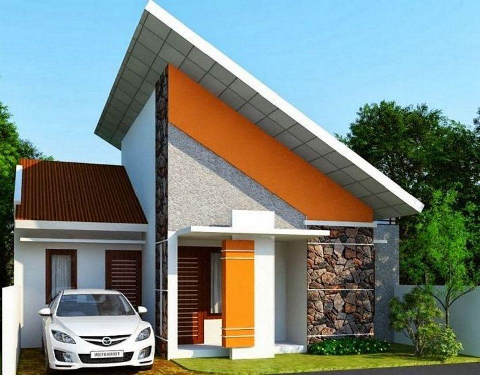 gambar rumah mungil atap miring tampak depan