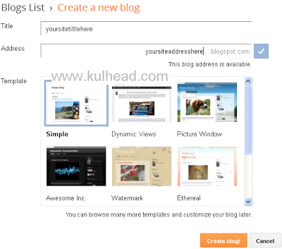 """Remember your address is the url that people will enter to their browser that will lead them to your blog, make sure it is unique and easy to remember. The example url above will be reach at """"www.kulhead.blogspot.com"""""""