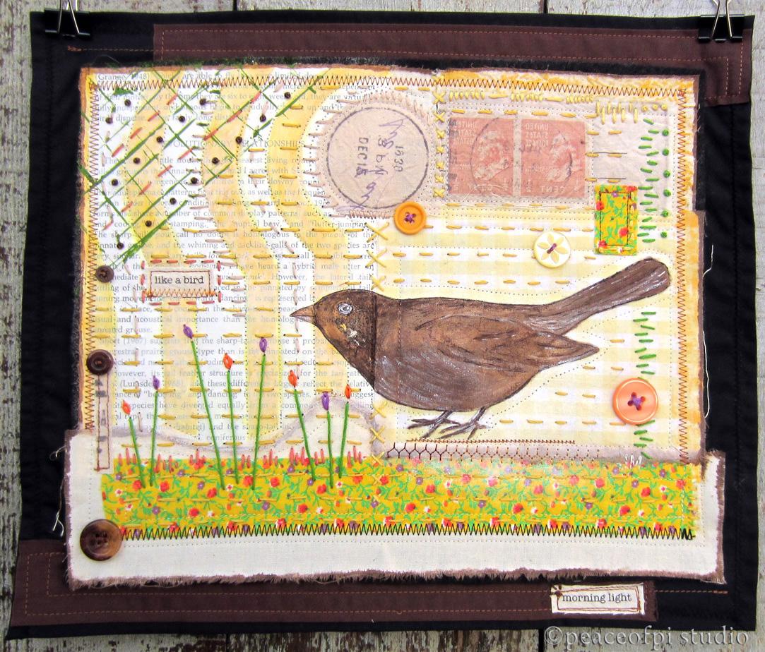 peaceofpi studio: Brown Bird Mixed Media Art Quilt : mixed media quilts - Adamdwight.com