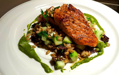 image of a salmon lunch special