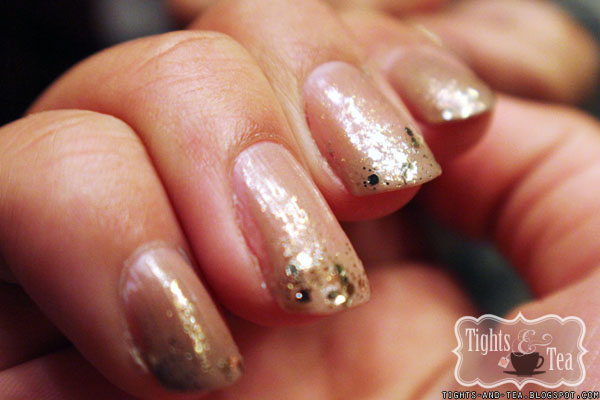 Nude Glitter Gradient Polish using Deborah Lippmann Here Comes the Queen and Butter London Yummy Mummy