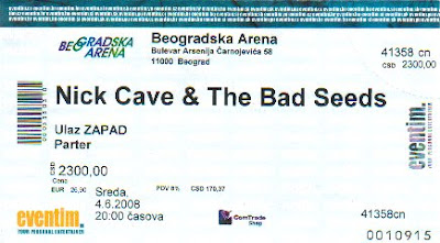 Nick Cave and the  Bad seeds  από την εμφάνιση τους  στην  «Βeogradska Arena»  του Βελιγραδίου :