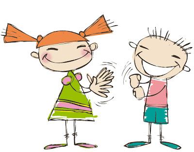 Dos niños, dibujados a mano, se comunican mediante lengua de signos.