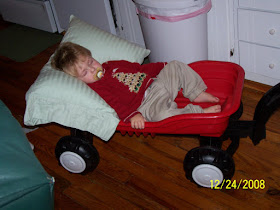 Taban asleep in his wagon