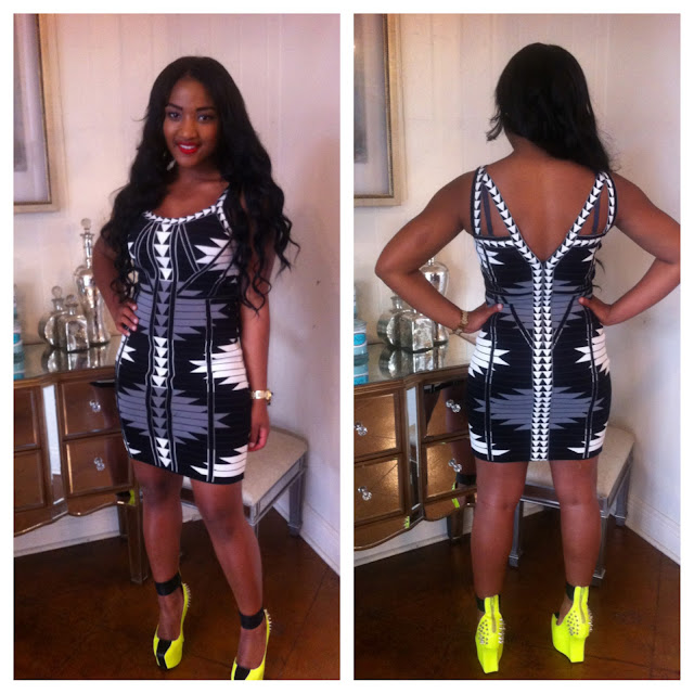 Tribal Print Dress, Yellow Rubiks Wedge Booties, Prima Donna Earrings