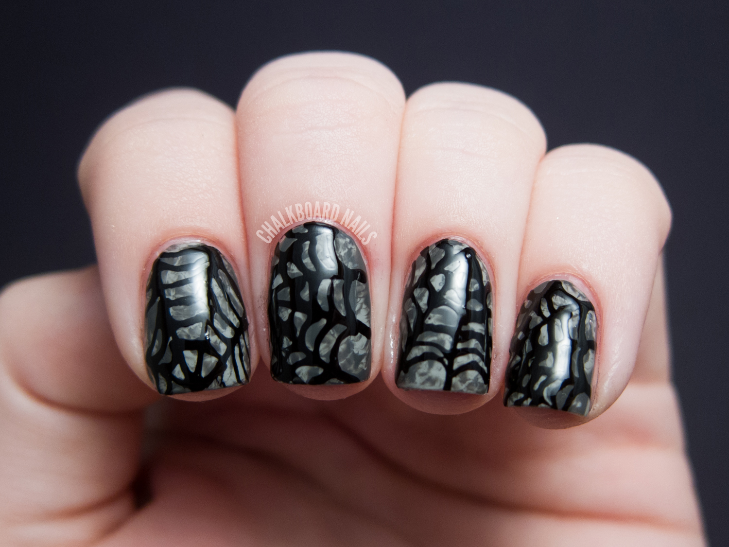 Saran Wrap Spiderwebs | Chalkboard Nails | Nail Art Blog
