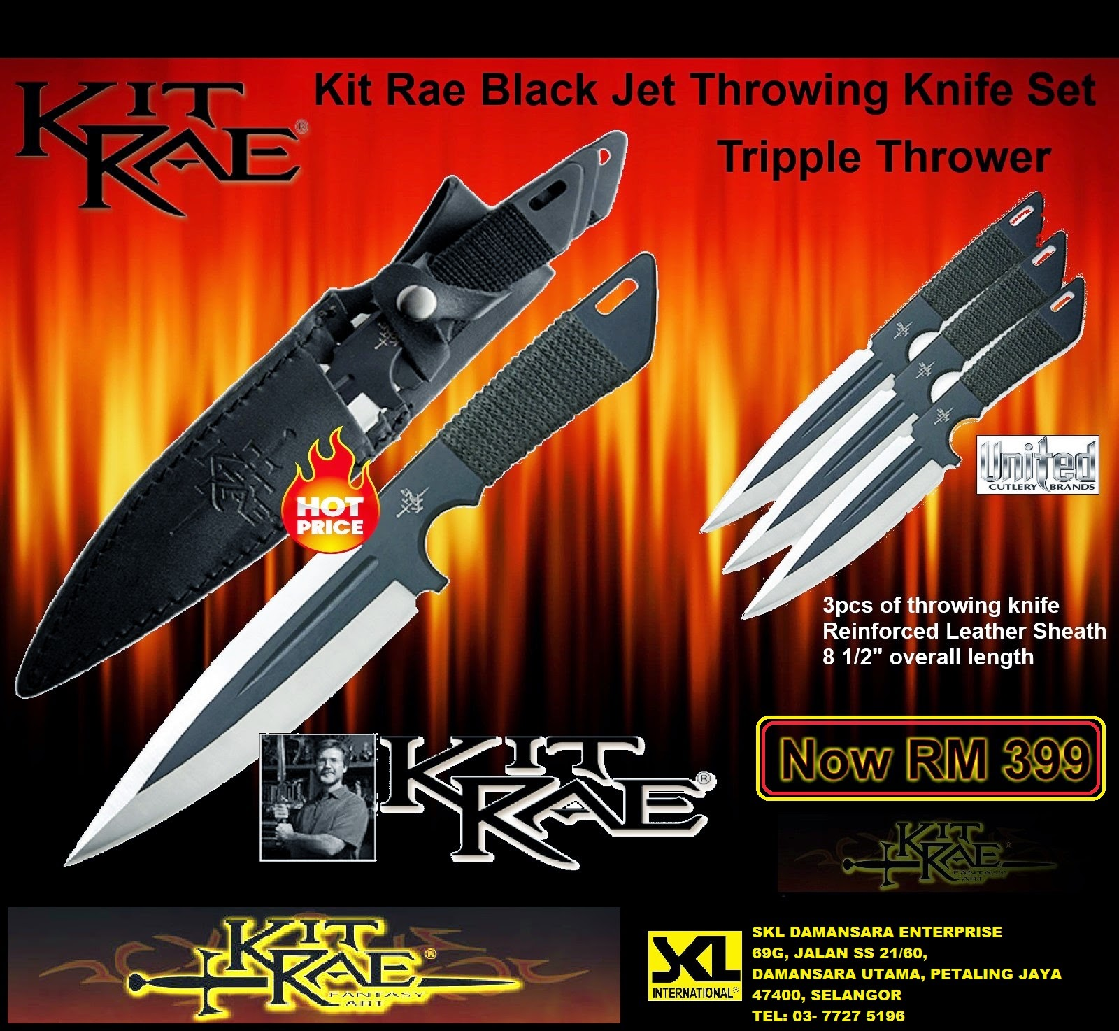 Kitrae Black Jet Throwing Knife Triple Set now at RM 399.00 only!
