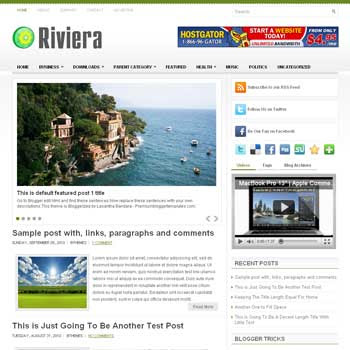 Riviera blog template. template image slider blog. magazine blogger template style. wordpress theme to blogger