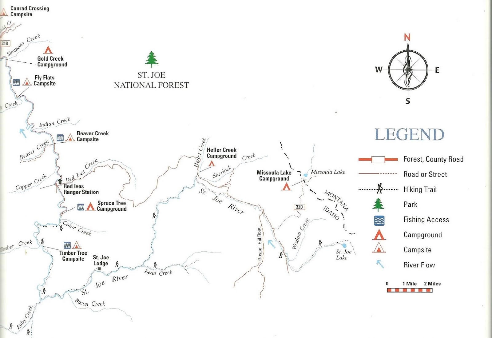 St joe river idaho map map for Fly fishing boise idaho