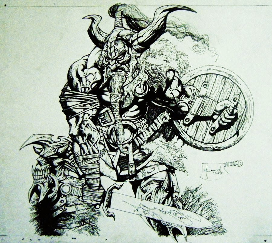 Dessin de Noël Guard représentant un viking