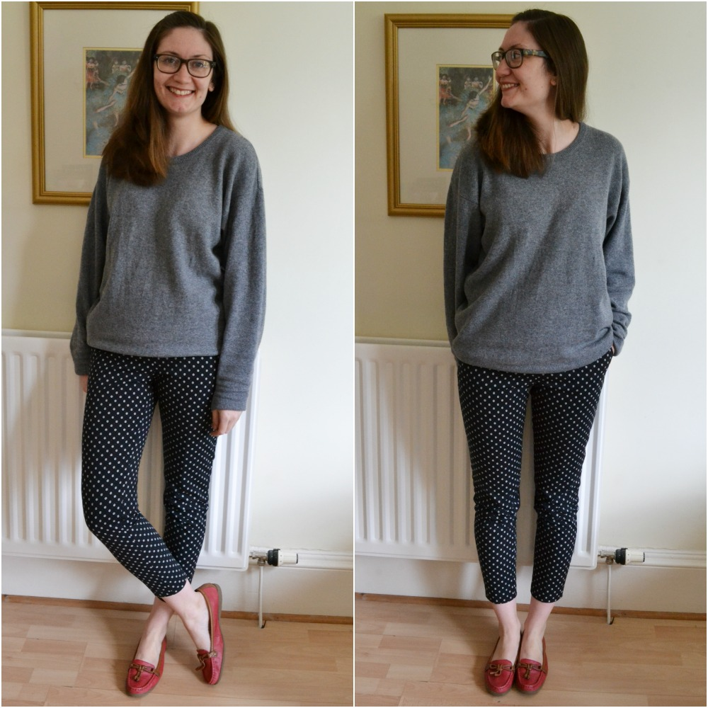 grey wool sweater navy patterned trousers red loafers