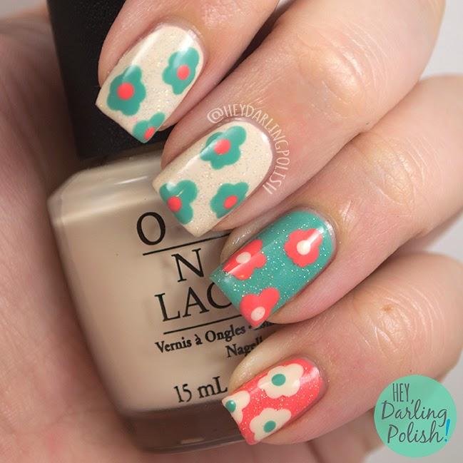 Playful Polishes June Nail Art Challenge Ocean Nails: Hey, Darling Polish!: Tri-Polish Challenge: Dotty Flowers