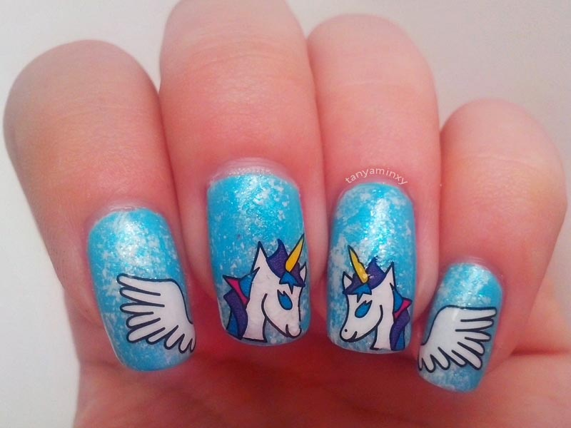 Unicorn nails BPS water decals nail art design rainbow sky
