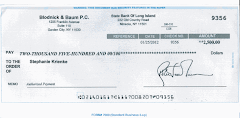 Fake Check from Blodnick & Baum