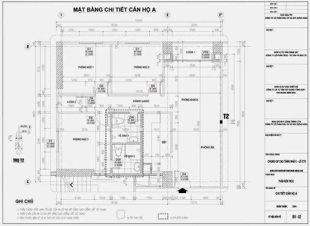 Mặt bằng căn hộ A Chung Cư CT3 Tây Nam Linh Đàm